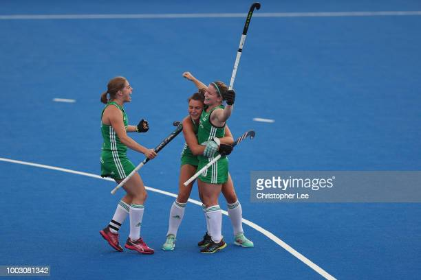 Deirdre of Ireland celebrates the 3rd goal during Vitality Hockey Women's World Cup 2018 match Group B between USA and Ireland at Lee Valley Hockey...