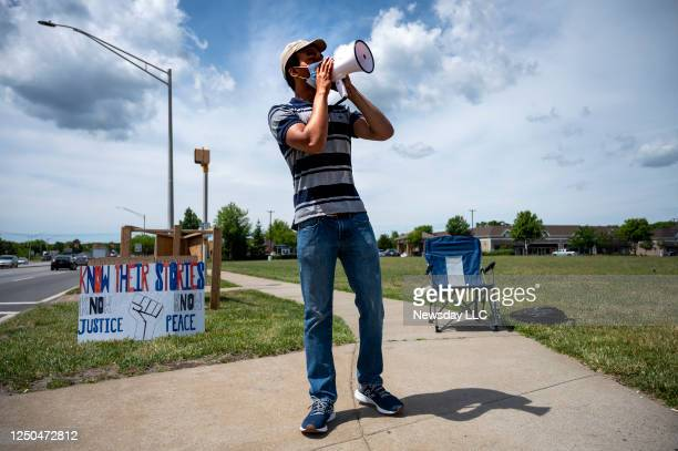Ezekiel Torres leads a daily and often solitary Black Lives Matter protest on the corner of Montauk Highway and William Floyd Parkway in Shirley New...