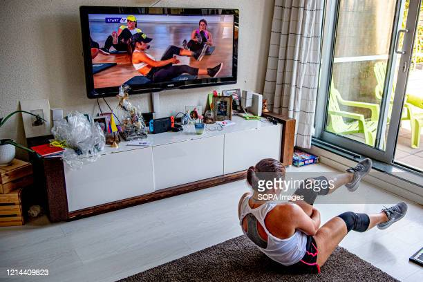 Shirley performs Home Workout classes at her home amid coronavirus crisis Gyms and Studios remain closed but will live stream their classes virtually