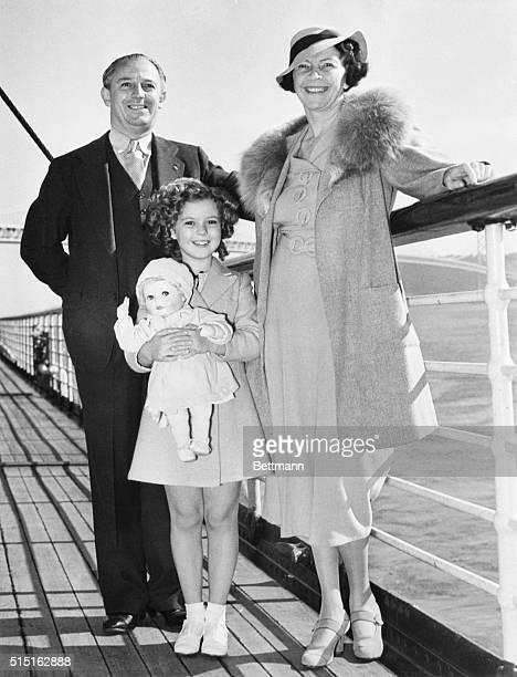 Shirley Temple and her parents Mr and Mrs George Temple are pictured aboard the liner Malolo sailing from San Francisco for a vacation in Hawaii