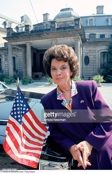 Shirley Temple Black ambassador to Czechoslovakia poses for a portrait in front of her residence September 8 1989 in Prague During the 1930''s she...