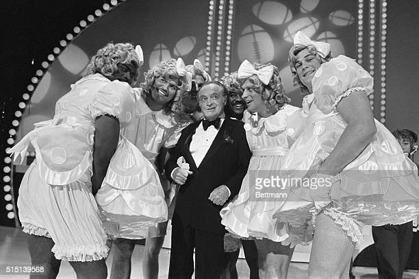 """Shirley Temple look-alikes singing a medley of """"Good Ship Lollipop"""" on NBC's Bob Hope's All Star Super Bowl Party"""" are from left to right Lawrence..."""