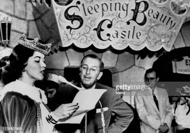 Shirley temple walt disney opening ceremony of the sleeping beauty castle 1957