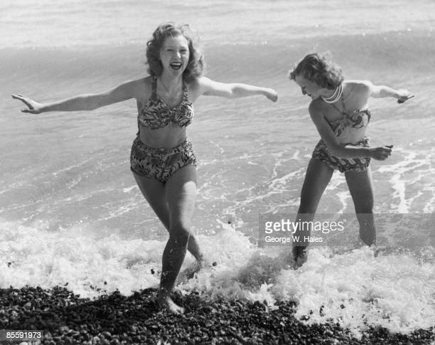 Shirley Waller and Jean Gullet enjoying a day at the beach in Hastings East Sussex 8th April 1950