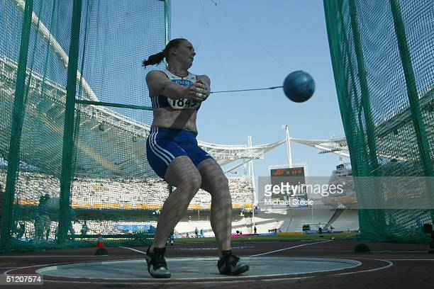 Shirley Webb of Great Britian competes in the women's hammer throw qualifying round on August 23, 2004 during the Athens 2004 Summer Olympic Games at...