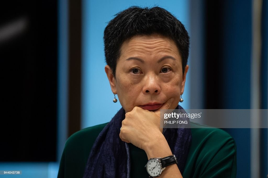 Shirley Yam of Hong Kong Journalists Association, attends a press conference by the Hong Kong Universal Periodic Review (UPR) Coalition in Hong Kong on April 10, 2018. / AFP PHOTO / Philip FONG