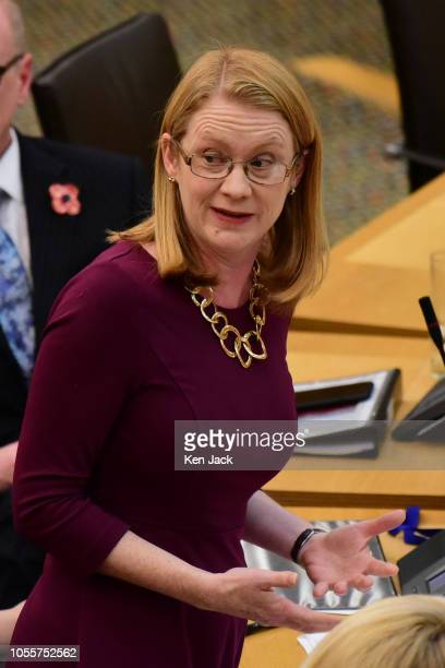 ShirleyAnne Somerville Scottish Cabinet Secretary for Social Security and Older People during Portfolio Questions in the Scottish Parliament on...