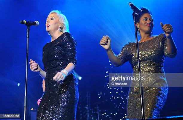 Shirlie Holliman and Helen Pepsi DeMacque of Pepsi Shirlie perform on stage at the Hit Factory Live Christmas Cracker at 02 Arena on December 21 2012...