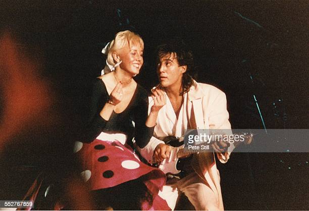 Shirlie Holliman of pop duo Pepsi and Shirlie performs on stage with Andrew Ridgeley of Wham at the National Exhibition Centre on February 27th 1985...