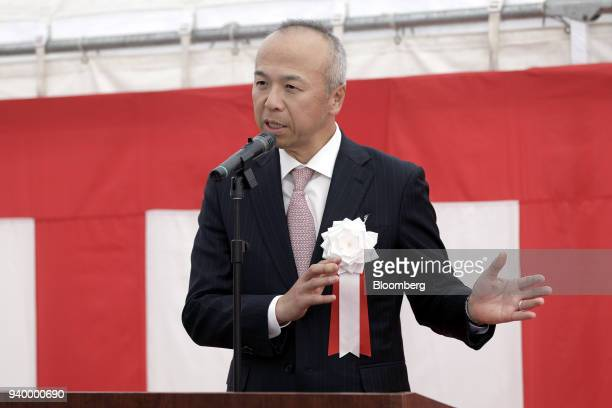 Shiro Yahara president and chief executive officer of Air Liquide Japan Ltd speaks during the opening ceremony of the company's Kawasaki Hydrogen...