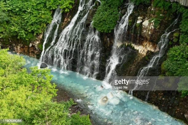 shirohige waterfall in summer - agua descendente fotografías e imágenes de stock