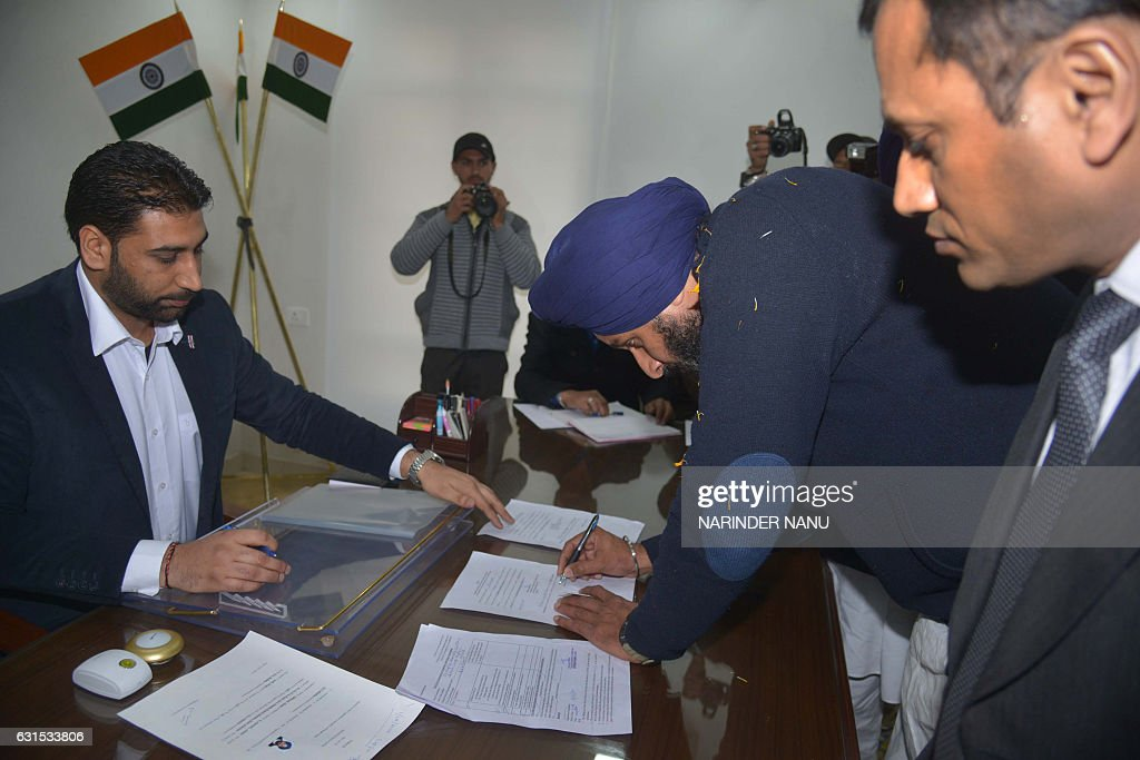 Shiromani Akali Dal party candidate for the Member of Legislative Assembly from Majitha Bikram Singh Majithia files his nomination papers to the...