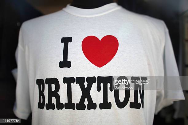 T shirt is displayed in a shop in Brixton on April 11 2011 in London England Today marks the 30th anniversary of the Brixton riots The 1981 Brixton...