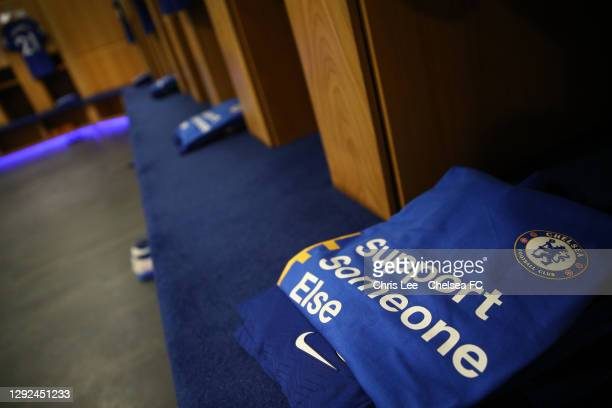 Shirt is seen inside the Chelsea dressing room with the Support Someone Else message as part of a campaign against mental illness and loneliness...