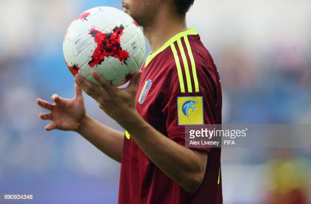 FIFA shirt logo is seen during the FIFA U20 World Cup Korea Republic 2017 Round of 16 match between Venezuela and Japan at Daejeon World Cup Stadium...