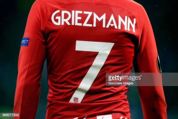 shirt of Antoine Griezmann of Atletico Madrid during the UEFA Europa League match between Olympique Marseille v Atletico Madrid at the Parc Olympique...