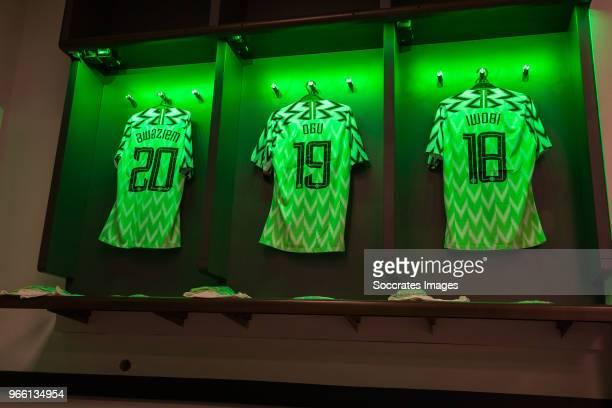 shirt of Chidozie Awaziem of Nigeria John Ogu of Nigeria Alex Iwobi of Nigeria during the International Friendly match between England v Nigeria at...