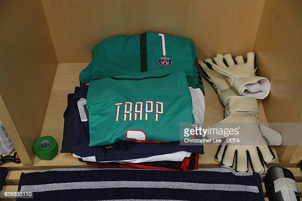 A shirt of Kevin Trapp of PSG in the changing room during the UEFA Champions League match between Arsenal FC and Paris SaintGermain at Emirates...