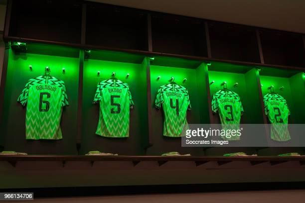 shirt of Leon Balogun of Nigeria William Troost Ekong of Nigeria Kenneth Omeruo of Nigeria Elderson Echiejile of Nigeria Ola Aina of Nigeria during...