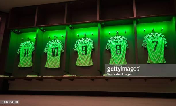 shirt of Victor Moses of Nigeria John Obi Mikel of Nigeria Odion Ighalo of Nigeria Oghenekaro Etebo of Nigeria Ahmed Musa of Nigeria during the...