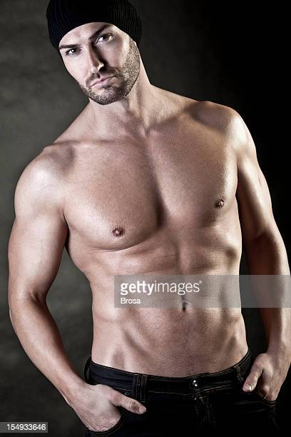 shirtless attractive man - male torso stock photos and pictures