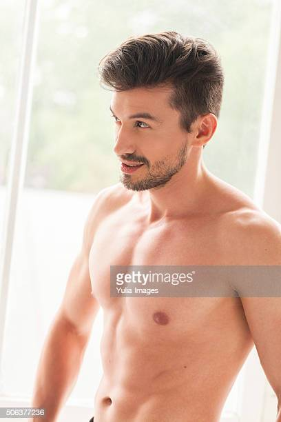 Shirtless handsome man with bare chest