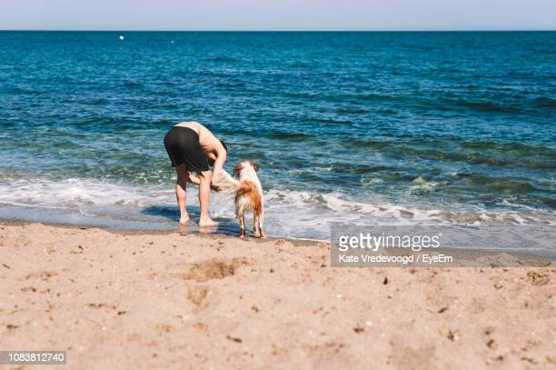 Shirtless Man And Dog Standing On Shore At Beach During Sunny Day