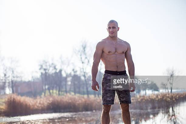Shirtless man outdoors