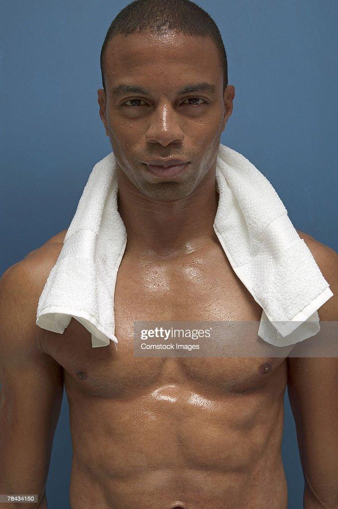 Shirtless man : Stockfoto