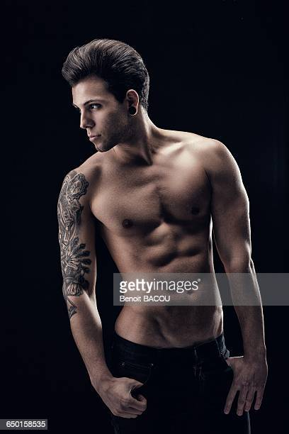Shirtless young man in profile