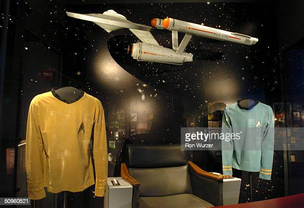 Shirts and a model from Star Trek are seen on display at The Science Fiction Museum June 14 2004 in Seattle Washington The museum was created with...
