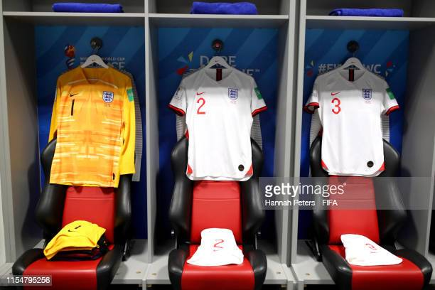 Shirts and kit on display in the England dressing room prior to the 2019 FIFA Women's World Cup France group D match between England and Scotland at...