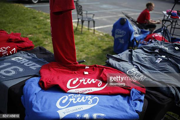 Shirts are displayed for sale outside a campaign event for Senator Ted Cruz a Republican from Texas and 2016 presidential candidate in Borden Indiana...