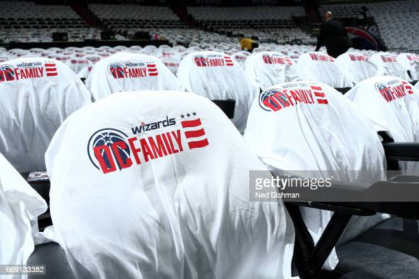 Shirts are displayed on the seats for incoming fans before the game between the Washington Wizards and the against the Atlanta Hawks during the...