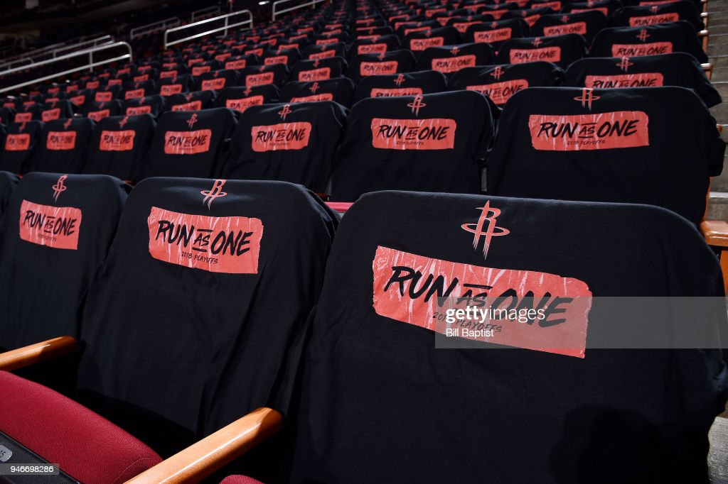 Shirts are laid for fans before the game between the Minnesota Timberwolves and the Houston Rockets in Game One of Round One of the 2018 NBA Playoffs on April 15, 2018 at the Toyota Center in Houston, Texas.