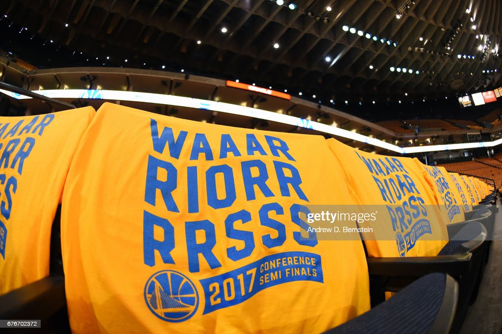 Shirts are laid out for fans before Game One of the Western Conference Semifinals of the 2017 NBA Playoffs on May 2, 2017 at ORACLE Arena in Oakland, California.
