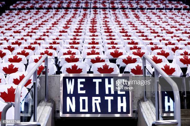 Shirts are placed on the seats for fans before the game between the Toronto Raptors and the Cleveland Cavaliers in Game Three of the Eastern...