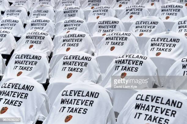 Shirts are presented for fans before the game between the Boston Celtics and the Cleveland Cavaliers in Game Six of the Eastern Conference Finals of...