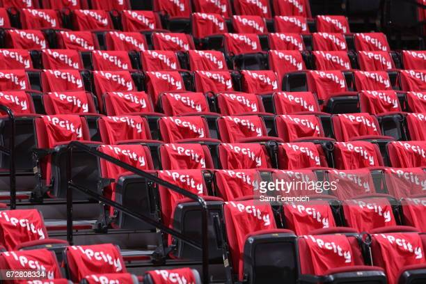 Shirts are presented for the fans before the game against the Golden State Warriors during Game Four of the Western Conference Quarterfinals of the...