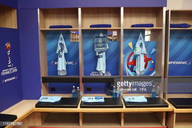 Shirts are seen hanging inside the dressing room of Thailand prior to the 2019 FIFA Women's World Cup France group F match between Thailand and Chile...