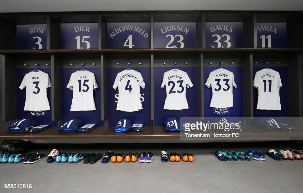 Shirts are seen in the Tottenham Hotspur dressing room prior to the Premier League match between Tottenham Hotspur and Leicester City at Wembley...