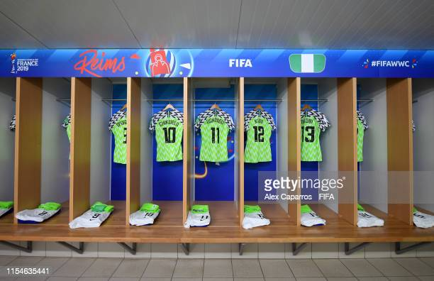 Shirts are seen inside the Nigeria Dressing Room prior to the 2019 FIFA Women's World Cup France group A match between Norway and Nigeria at Stade...