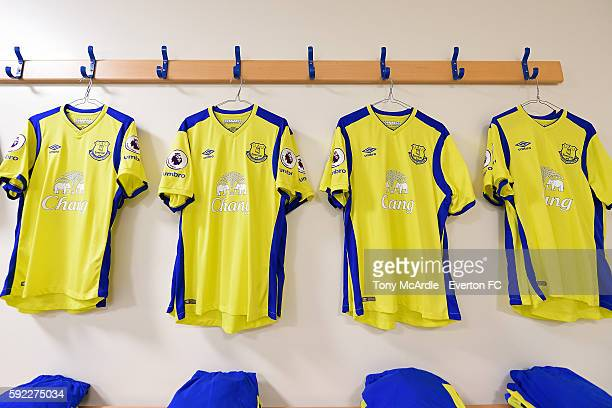 Shirts hang in the Everton dressing room before the Premier League match between West Bromwich Albion and Everton on August 20 2016 in West Bromwich...