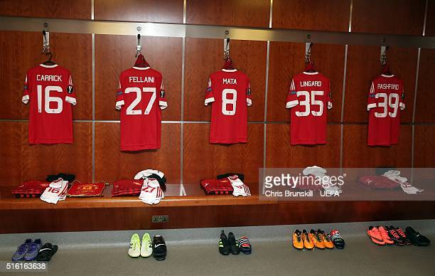 Shirts hang in the Manchester United dressing room ahead of the UEFA Europa League round of 16 second leg match between Manchester United and...