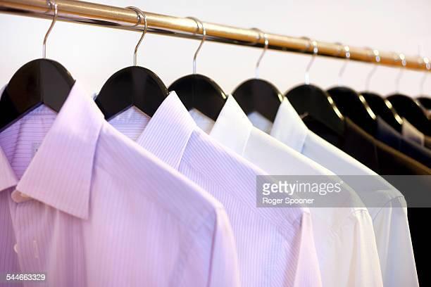 Shirts hanging on a rail