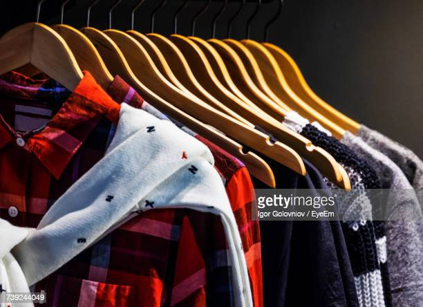 Shirts Hanging On Hangers At Store