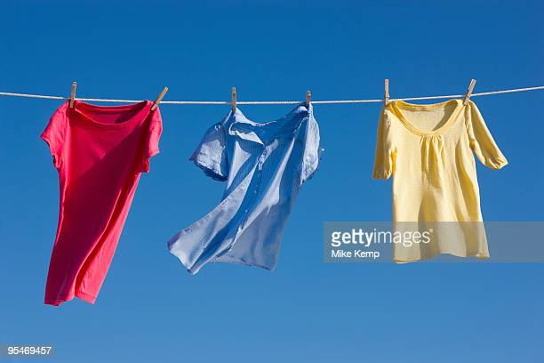 Shirts on clothes line