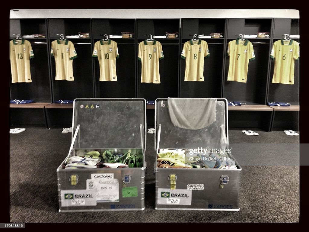 Shirts on display in the Brazil changing room prior to the FIFA Confederations Cup Brazil 2013 Group A match between Brazil and Japan at National Stadium on June 15, 2013 in Brasilia, Brazil.