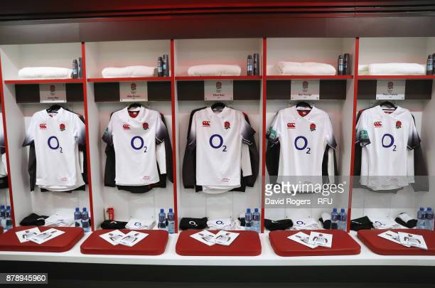 Shirts on display in the England dressing room during the Old Mutual Wealth Series match between England and Samoa at Twickenham Stadium on November...