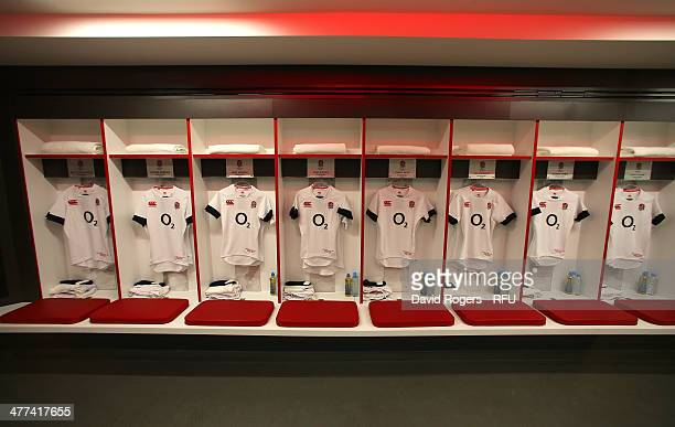 Shirts on display in the England team dressing room prior to the RBS Six Nations match between England and Wales at Twickenham Stadium on March 9...